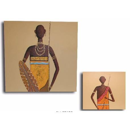 Pareja de 2 cuadros hombres africanos.