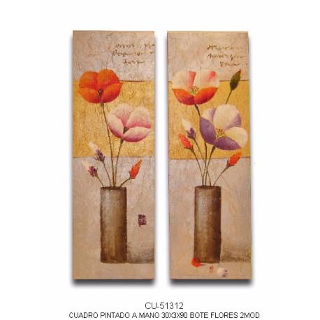 Pareja de cuadros con jarrones de flores